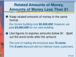 related amounts of money amounts of money less than 1