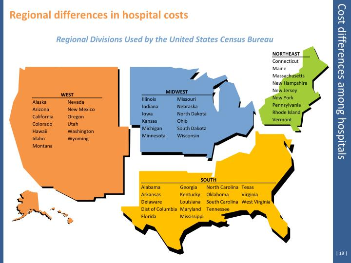 Regional differences in hospital costs