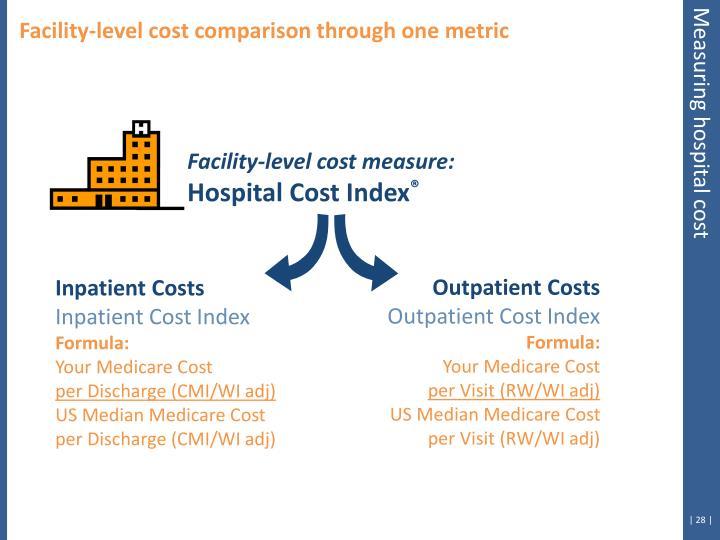 Facility-level cost comparison through one metric