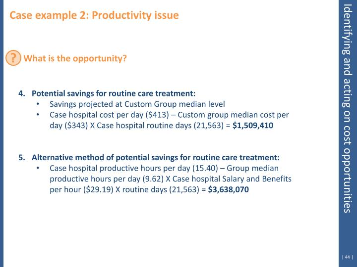 Case example 2: Productivity issue