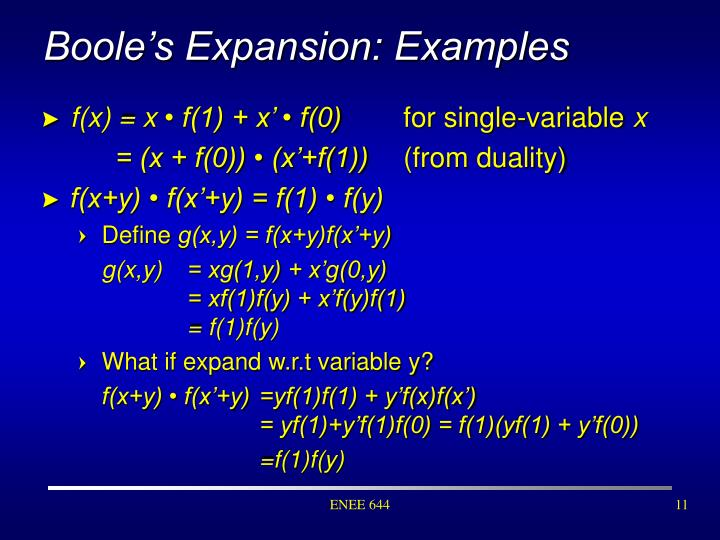 Boole's Expansion: Examples