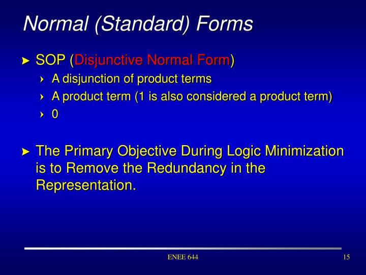 Normal (Standard) Forms