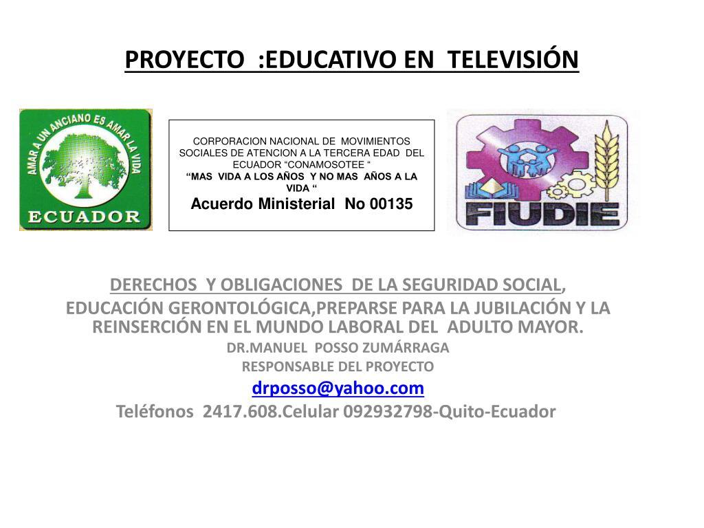 proyecto educativo en televisi n l.