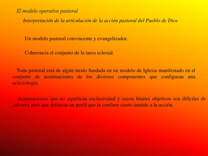 El modelo operativo pastoral
