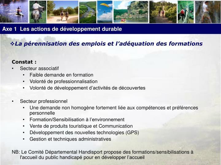 Axe 1  Les actions de développement durable