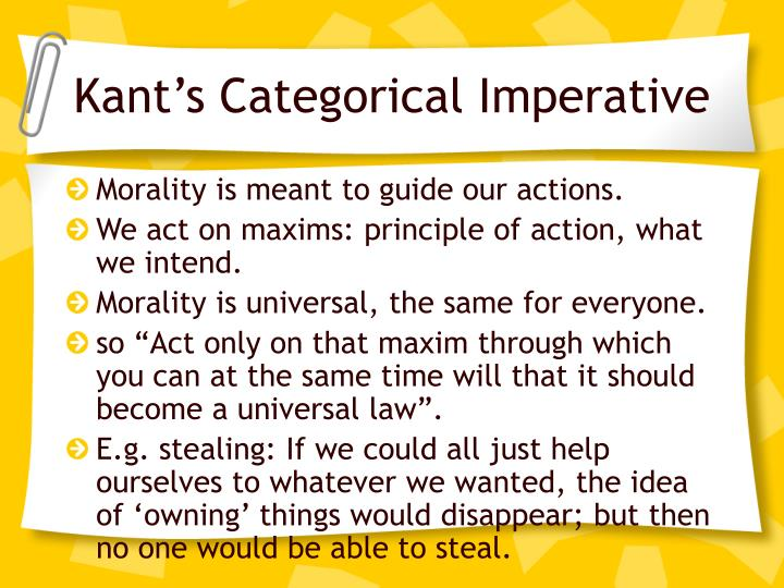 summary of kants categorical imperative Kant argued that morality was prescriptive moral statements are categorical in that they prescribe actions regardless of the result a hypothetical imperative doesn't prescribe or demand any action.