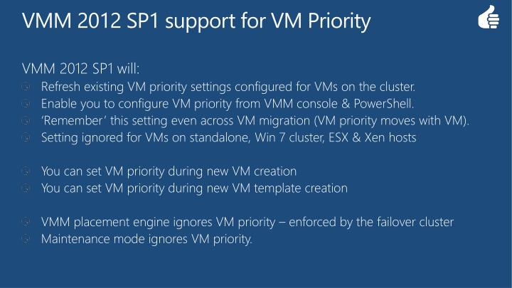VMM 2012 SP1 support for VM Priority