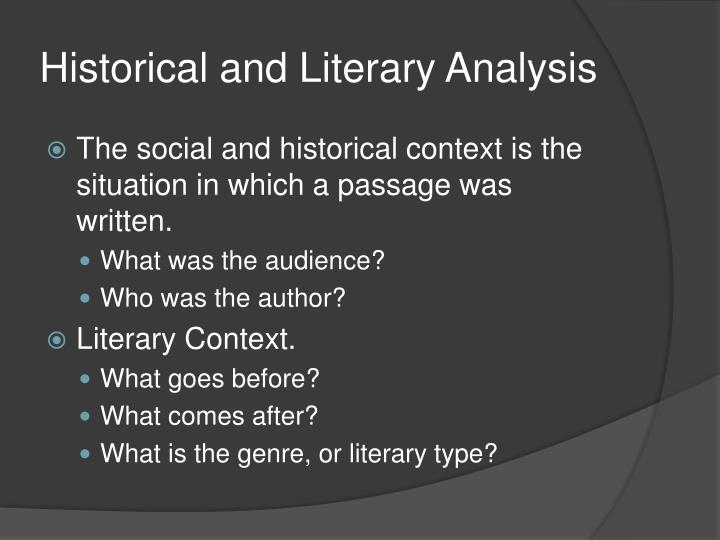 historical and literary analysis n.