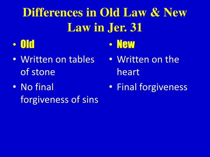 Differences in Old Law & New Law in Jer. 31