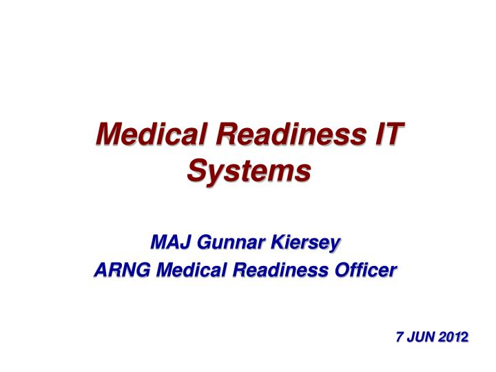 medical readiness it systems n.