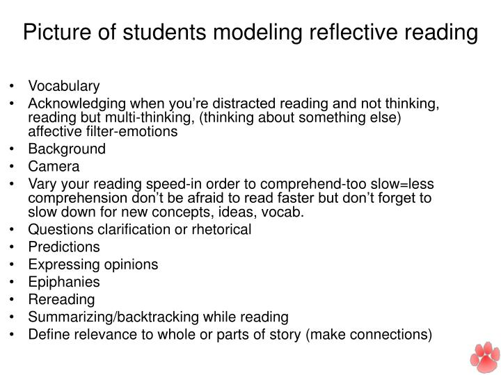 Picture of students modeling reflective reading