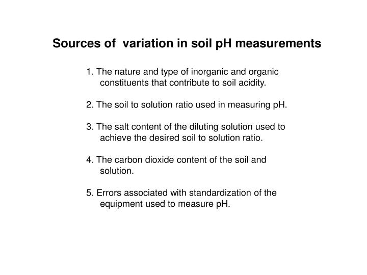 Sources of  variation in soil pH measurements