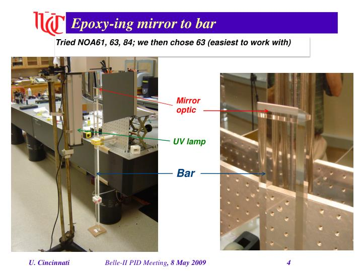 Epoxy-ing mirror to bar