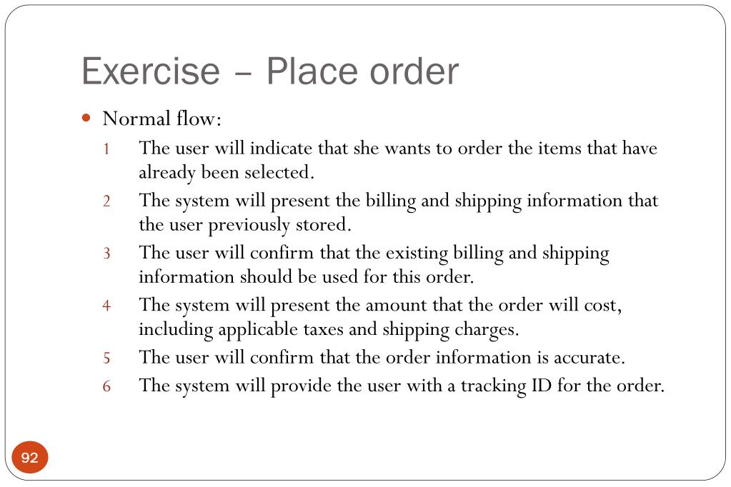 Exercise – Place order