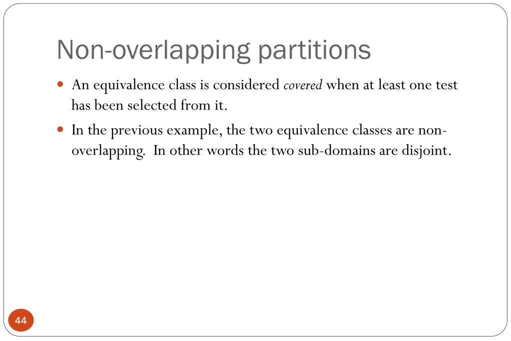 Non-overlapping partitions