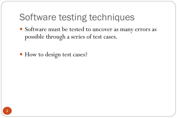 Software testing techniques2