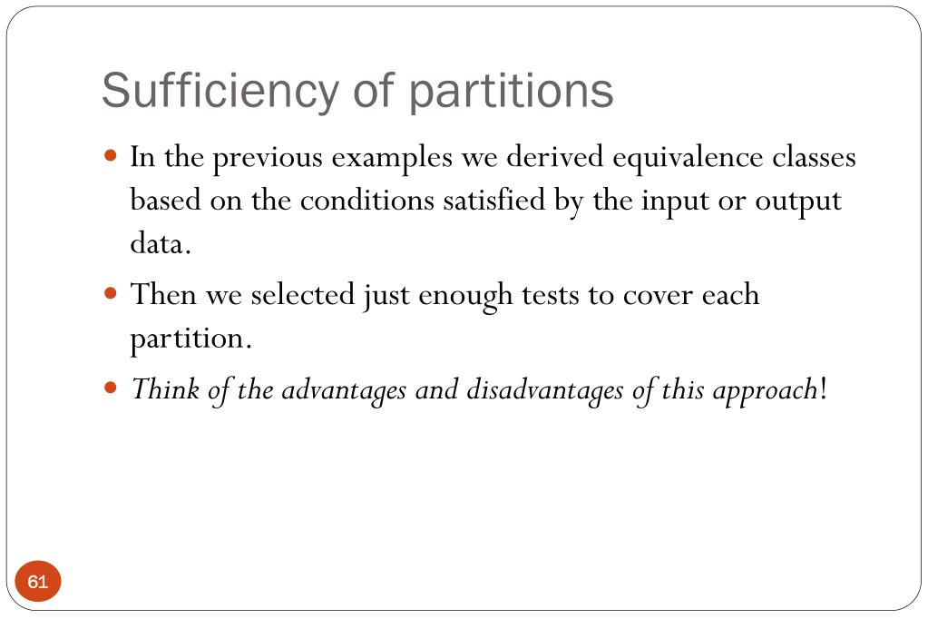 Sufficiency of partitions