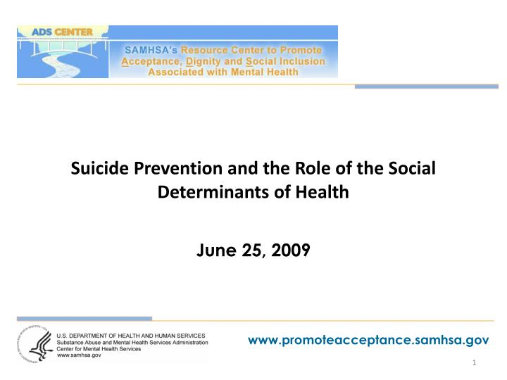 suicide prevention and the role of the social determinants of health n.