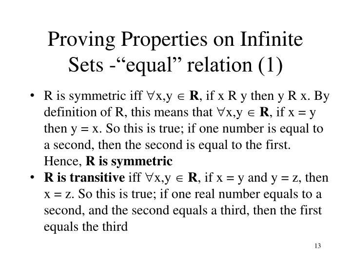 Proving Properties on Infinite Sets