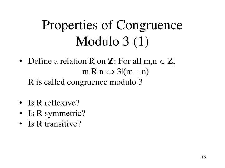 Properties of Congruence