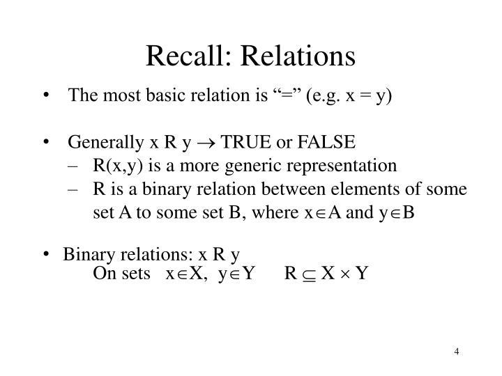 Recall: Relations