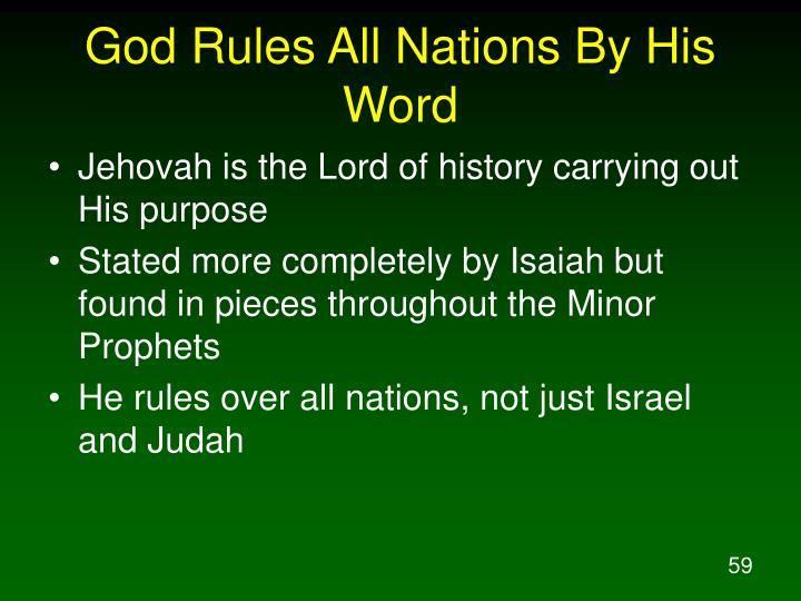 God Rules All Nations By His Word