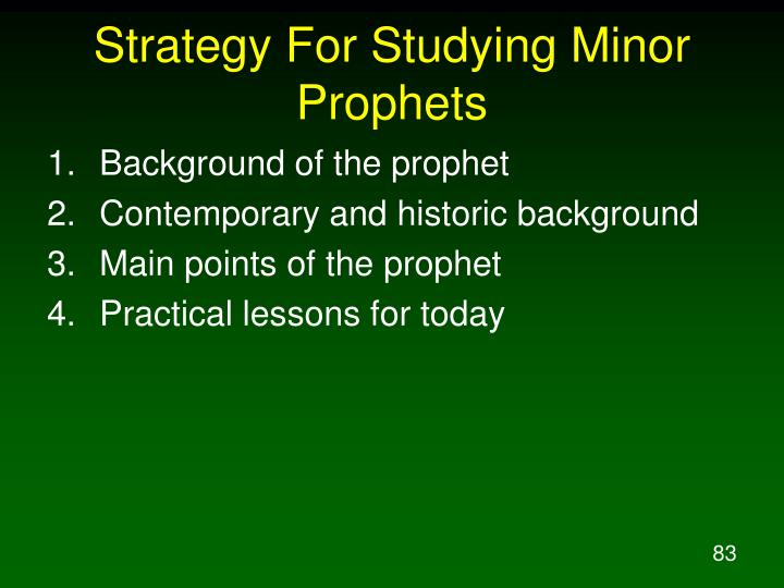 Strategy For Studying Minor Prophets