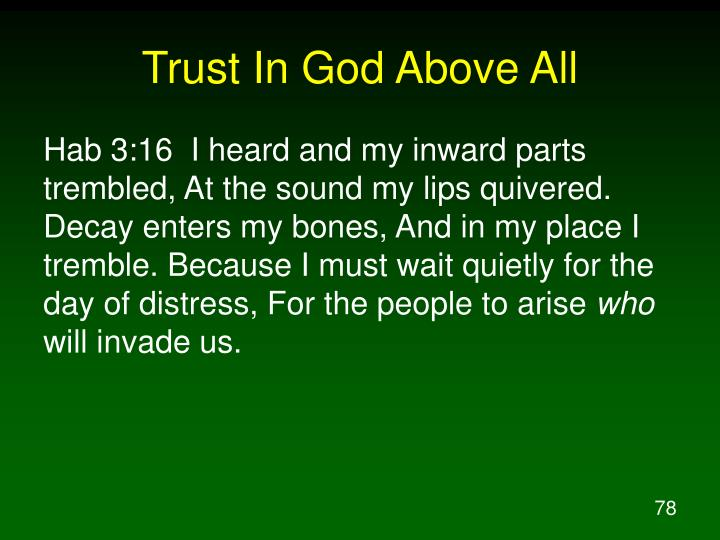 Trust In God Above All