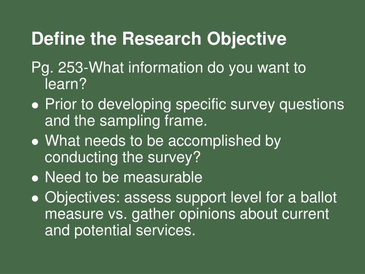 Define the Research Objective