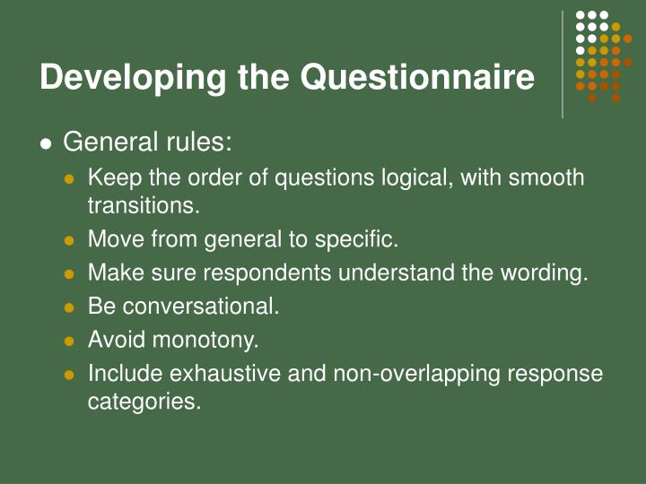Developing the Questionnaire