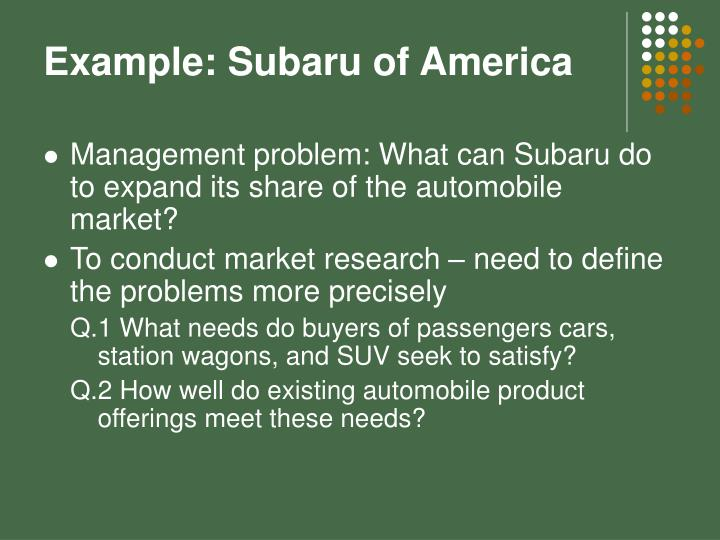 Example: Subaru of America