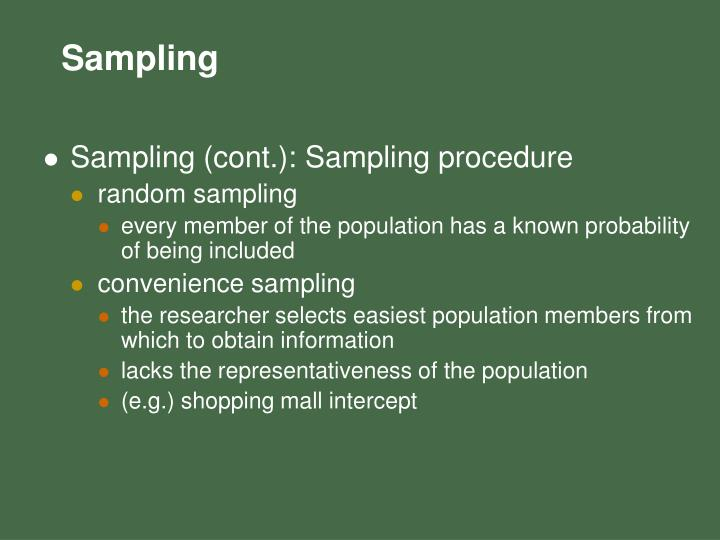 Sampling (cont.): Sampling procedure