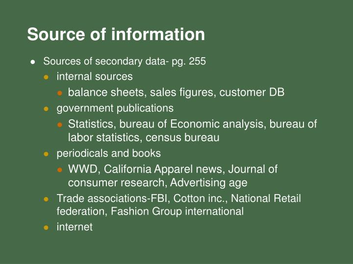 Sources of secondary data- pg. 255