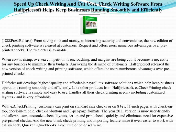 Speed Up Check Writing And Cut Cost, Check Writing Software From Halfpricesoft Helps Keep Businesses...