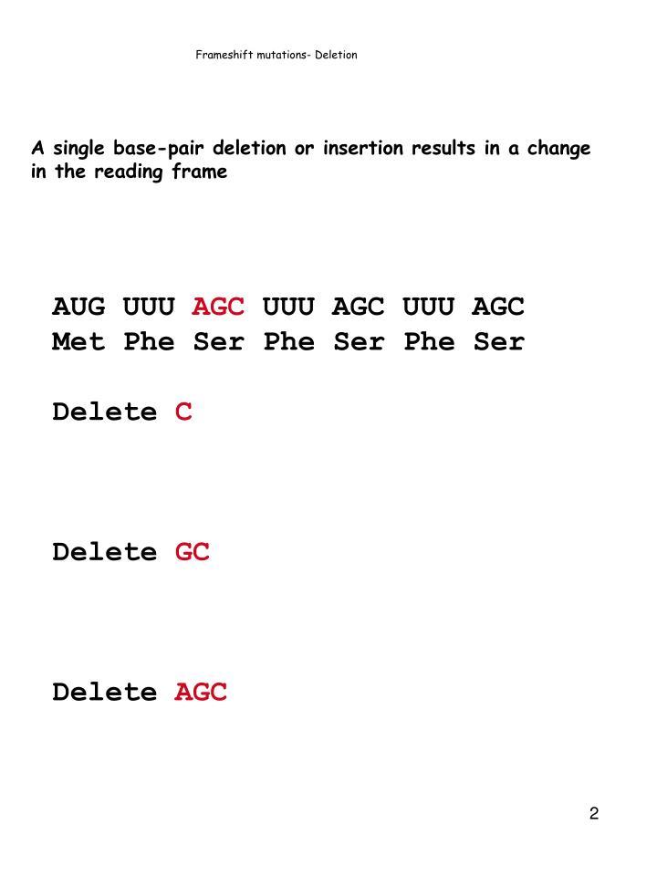 Frameshift mutations deletion