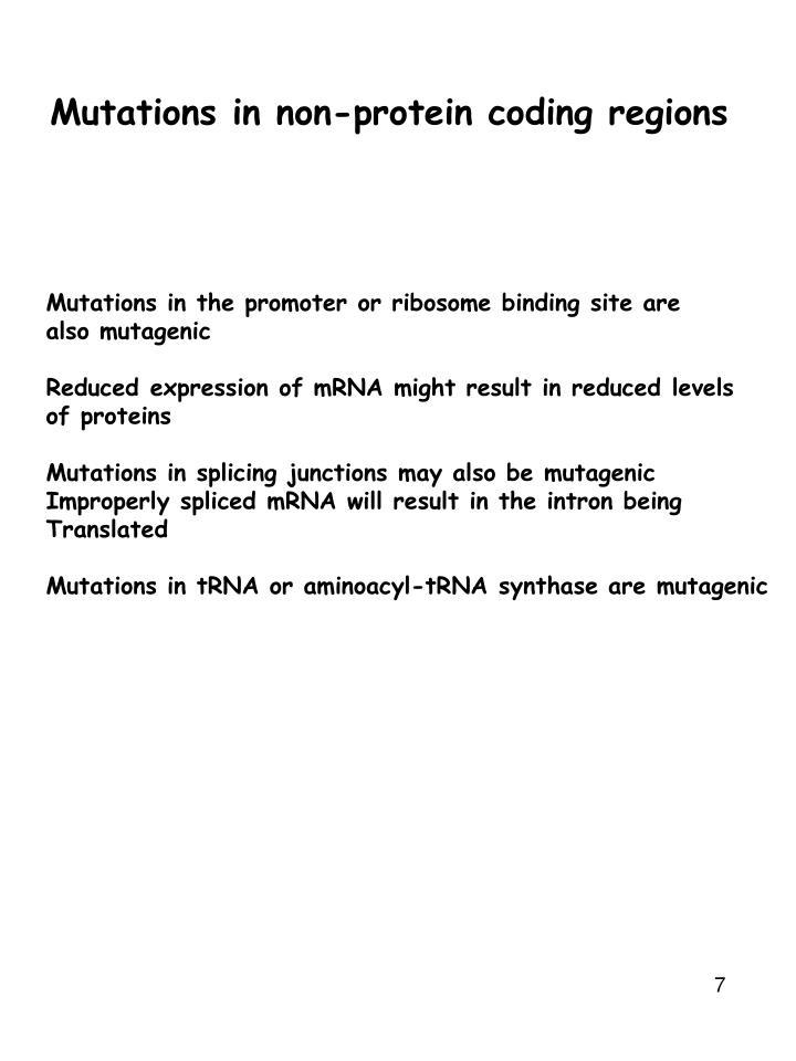 Mutations in non-protein coding regions