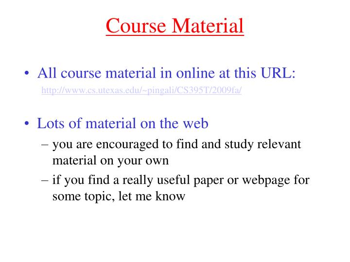 Course Material