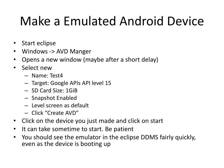 Make a Emulated Android Device