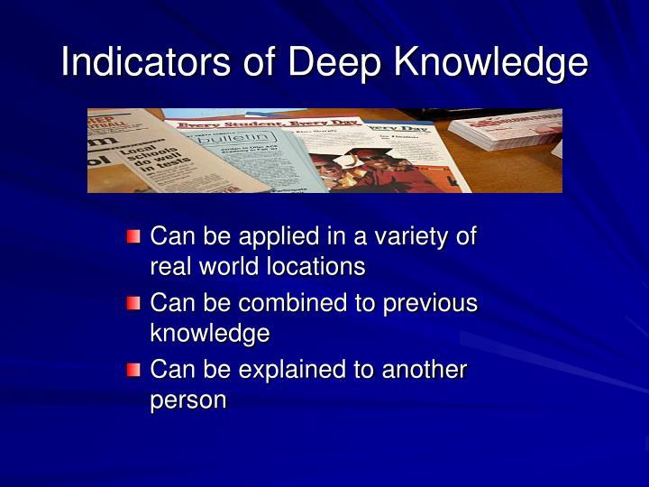 Indicators of Deep Knowledge