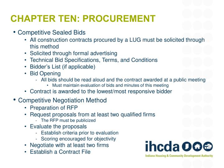 competitive bidding and sealed proposals essay Competitive bidding requirements v 181 2 competitive sealed proposals, also known as a request for proposal (rfp), is used when it is determined that competitive sealed bidding is not practical and there are many negotiable.