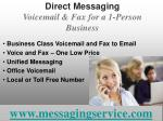 direct messaging voicemail fax for a 1 person business