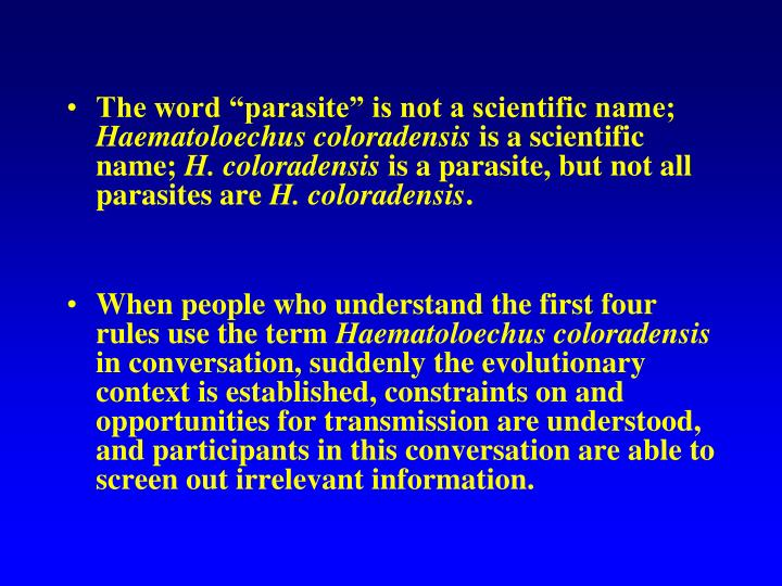"The word ""parasite"" is not a scientific name;"