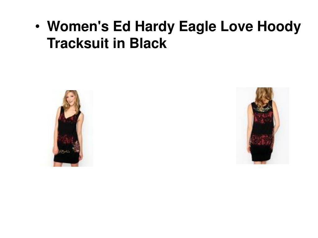 Women's Ed Hardy Eagle Love Hoody Tracksuit in Black