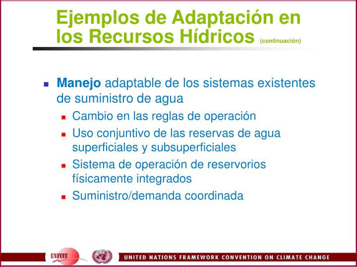 Ejemplos de Adaptación en los Recursos Hídricos