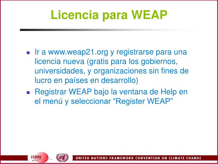Licencia para WEAP