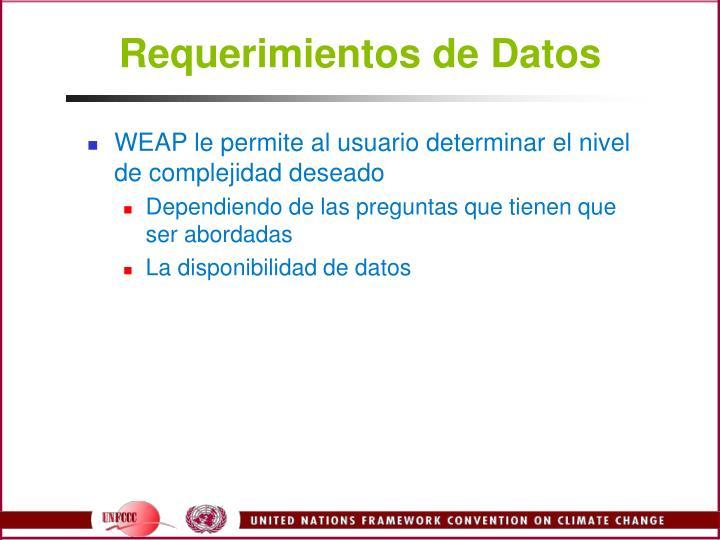 Requerimientos de Datos