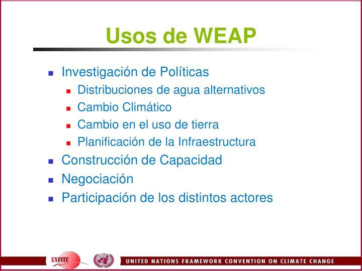 Usos de WEAP