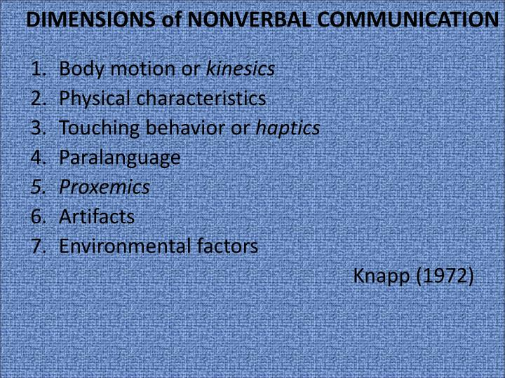 use of artifacts in nonverbal commuication Principles of nonverbal communication nonverbal communication has a distinct history and serves separate evolutionary functions from verbal communication.