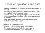 research questions and data