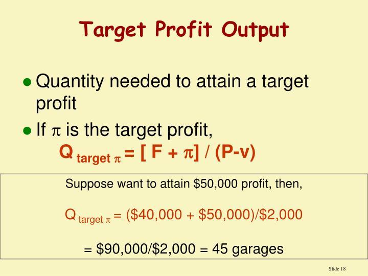 Target Profit Output
